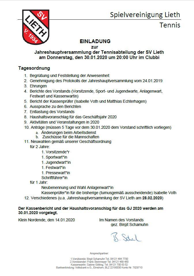 Unsere Jahreshauptversammlung am 30.01.2020